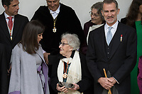 Kings of Spain, King Felipe VI of Spain and Queen Letizia of Spain delivers the Cervantes prize for literature in Spanish to the Uruguayan writer Ida Vitale (C) at the Paraninfo of the Alcala University in the World Heritage City of Alcala de Henares near Madrid on April 23, 2019.
