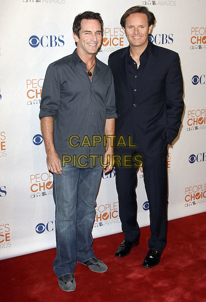 JEFF PROBST & MARK BURNETT.People's Choice Awards 2010 - Nomination Announcement Press Conference held At The SLS Hotel, Beverly Hills, California, USA..November 10th, 2009.full length shirt grey gray jeans denim black suit.CAP/ADM/KB.©Kevan Brooks/AdMedia/Capital Pictures.