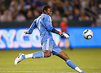 LA Galaxy goal keeper Donovan Ricketts (1) boots one down field. The LA Galaxy defeated the Philadelphia Union 1-0 at Home Depot Center stadium in Carson, California on  April  2, 2011....