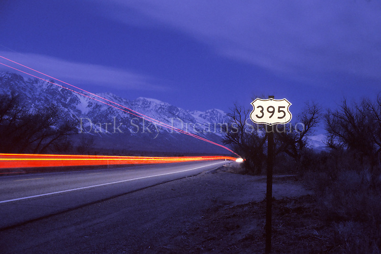 Late at night along highway CA 395, gateway to the eastern Sierras, near Lone Pine, California