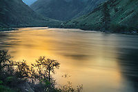 Hells Canyon NRA, Oregon/Idaho:<br /> Snake river reflecting the colors of the morning sky. Near Salt Creek.
