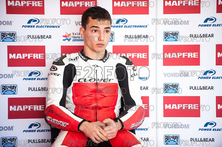 Juanfran Guevara in his box at pre season winter test IRTA Moto3 & Moto2 at Ricardo Tormo circuit in Valencia (Spain), 11-12-13 February 2014