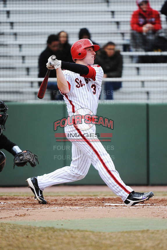 St. John's University Redstorm 3rd baseman Sean O'Hare (3) during game 1 of a double header against the University of Cincinnati Bearcats at Jack Kaiser Stadium on March 28, 2013 Queens, New York.  St. John's defeated Cincinnati 6-5 in game 1.                                                  (Tomasso DeRosa/ Four Seam Images)