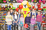 OYMASTER: The Toymaster puppy with his fans at the Easter party at Caball's Toymaster, Tralee on Saturday l-r: Lucy Lehane, Ryan McElligott, Melissia Dennehy, Alanna Dennehy, Laura Dennehy, Jack Given Rebecca Dennehy, Caoimhe McElligott and Ellie O'Brein.
