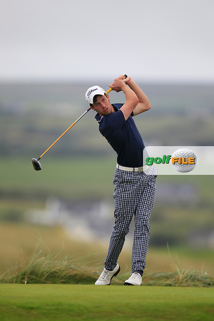 Alex Gleeson (Castle) on the 2nd tee during the South of Ireland Amateur Open Championship Semi-Finals at Lahinch Golf Club  31th July 2013 <br /> Picture:  Thos Caffrey / www.golffile.ie