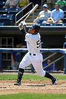 Staten Island Yankees infielder Exicardo Cayones (50) during game against the Aberdeen Ironbirds at Richmond County Bank Ballpark at St.George on July 18, 2012 in Staten Island, NY.  Staten Island defeated Aberdeen 3-2.  Tomasso DeRosa/Four Seam Images