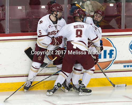 Casey Fitzgerald (BC - 5), Matthew Gaudreau (BC - 21), Jesper Mattila (BC - 8) - The visiting Merrimack College Warriors defeated the Boston College Eagles 6 - 3 (EN) on Friday, February 10, 2017, at Kelley Rink in Conte Forum in Chestnut Hill, Massachusetts.