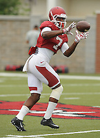 NWA Democrat-Gazette/ANDY SHUPE<br /> Arkansas receiver Damon Mitchell makes a catch Tuesday, Aug. 18, 2015, during practice at the university's practice field in Fayetteville.