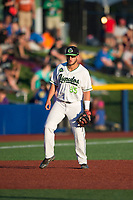 Hillsboro Hops third baseman Ryan Tufts (35) during a Northwest League game against the Salem-Keizer Volcanoes at Ron Tonkin Field on September 1, 2018 in Hillsboro, Oregon. The Salem-Keizer Volcanoes defeated the Hillsboro Hops by a score of 3-1. (Zachary Lucy/Four Seam Images)