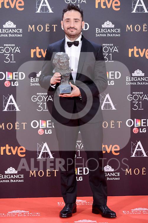 J.A. Bayona  pose to the media with the Goya  award at Madrid Marriott Auditorium Hotel in Madrid, Spain. February 04, 2017. (ALTERPHOTOS/BorjaB.Hojas)