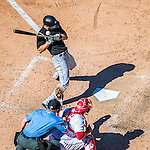 28 August 2016: Colorado Rockies outfielder Ryan Raburn is brushed back by a pitch during a pinch hit appearance against the Washington Nationals at Nationals Park in Washington, DC. The Rockies defeated the Nationals 5-3 to take the rubber match of their 3-game series. Mandatory Credit: Ed Wolfstein Photo *** RAW (NEF) Image File Available ***