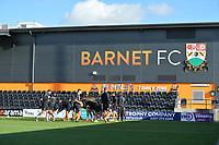 Barnet warm up during Barnet vs Bristol Rovers, Emirates FA Cup Football at the Hive Stadium on 11th November 2018