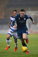 1st November 2019; Dens Park, Dundee, Scotland; Scottish Championship Football, Dundee Football Club versus Greenock Morton; Jordan McGhee of Dundee races away from Chris Millar of Greenock Morton  - Editorial Use