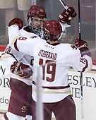 Colin White (BC - 18), Ryan Fitzgerald (BC - 19) - The Boston College Eagles defeated the visiting Colorado College Tigers 4-1 on Friday, October 21, 2016, at Kelley Rink in Conte Forum in Chestnut Hill, Massachusetts.The Boston College Eagles defeated the visiting Colorado College Tiger 4-1 on Friday, October 21, 2016, at Kelley Rink in Conte Forum in Chestnut Hill, Massachusett.