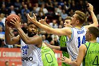GRONINGEN - Basketbal, Donar - Dinamo Sassari, Martiniplaza, Europe Cup, seizoen 2018-2019, 12-12-2018,  Donar speler Lance Jeter en /Donar speler Thomas Koenes