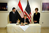 United States President George W. Bush and First Lady Laura visited the Egyptian embassy greeting ambassador Nabil Fahmy and signing a book of condolence for the weekend bombing in Egypt's Red Sea resort town of Sharm el-Sheik.<br /> Credit: Jay L. Clendenin / Pool via CNP