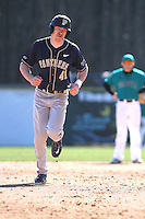 University of Pittsburgh outfielder Casey Roche #41 rounding the bases after hitting a home run during a game against the Coastal Carolina University Chanticleers at Ticketreturn.com Field at Pelicans Ballpark on February 16, 2014 in Myrtle Beach, South Carolina. Pittsburgh defeated Coastal Carolina by the score of 10-6. (Robert Gurganus/Four Seam Images)