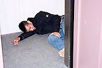 A shooting victim laying in an elevator during a training exercise