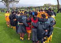 The NZM U18 team huddles after the rugby match between  New Zealand Schools Barbarians and NZ Maori Under-18 at the Sport and Rugby Institute in Palmerston North, New Zealand on Monday, 2 October 2017. Photo: Dave Lintott / lintottphoto.co.nz