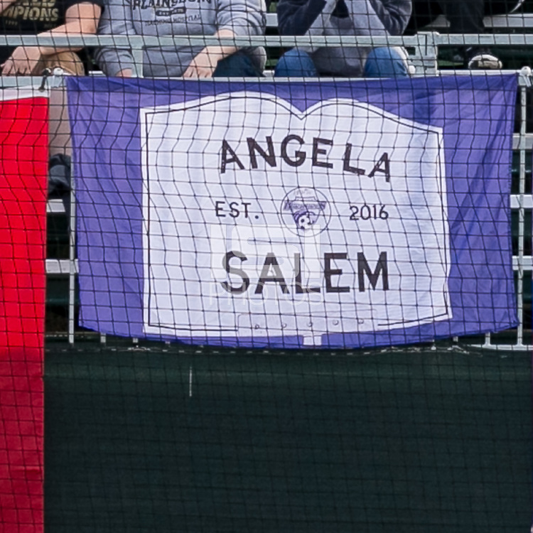 Allston, Massachusetts - September 10, 2017:  In a National Women's Soccer League (NWSL) match, Portland Thorns FC (red) defeated Boston Breakers (blue), 1-0, at Jordan Field.<br /> <br /> Angela Salem banner.