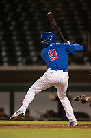 AZL Cubs 1 designated hitter Kevin Moreno (9) at bat during an Arizona League game against the AZL Diamondbacks at Sloan Park on June 18, 2018 in Mesa, Arizona. AZL Diamondbacks defeated AZL Cubs 1 7-0. (Zachary Lucy/Four Seam Images)