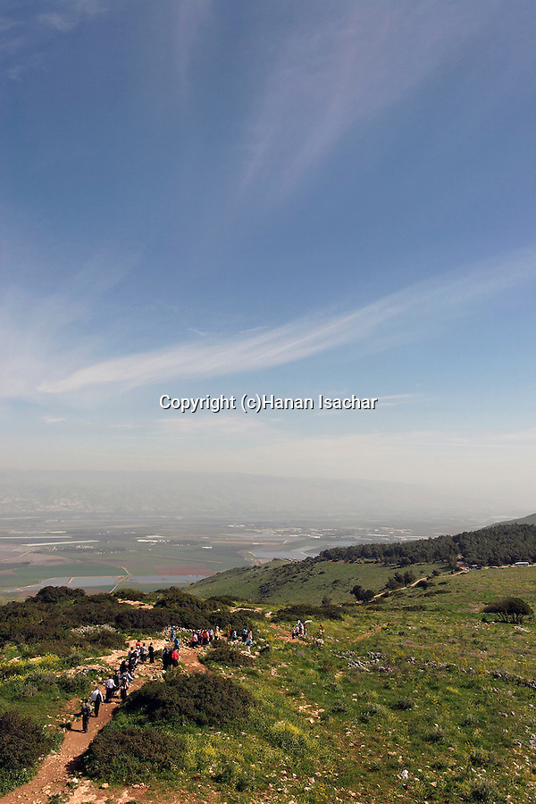 Israel, Mount Gilboa. The view from Mount Barkan lookout, Jordan valley is in the background
