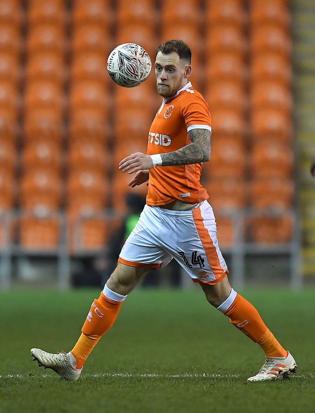 Blackpool's Harry Pritchard<br /> <br /> Photographer Dave Howarth/CameraSport<br /> <br /> The Emirates FA Cup Second Round Replay - Blackpool v Solihull Moors - Tuesday 18th December 2018 - Bloomfield Road - Blackpool<br />  <br /> World Copyright © 2018 CameraSport. All rights reserved. 43 Linden Ave. Countesthorpe. Leicester. England. LE8 5PG - Tel: +44 (0) 116 277 4147 - admin@camerasport.com - www.camerasport.com