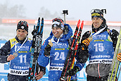 17th March 2019, Ostersund, Sweden; IBU World Championships Biathlon, day 9, mass start men; Antonin Guigonnat (FRA), Dominik Windisch (ITA), Julian Eberhard (AUT) celebrate