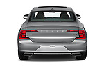 Straight rear view of a 2019 Volvo S90 Inscription PHEV T8 AWD 4 Door Sedan stock images