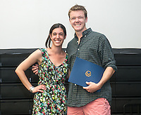 From left, Mortar Board President Sarah Shirley '14 poses with Lucille Y. Gilman Memorial Award recipient Kevin Siebs '14 during Senior Brunch and Class Day, May 16, 2014 in Rush Gym. (Photo by Marc Campos, Occidental College Photographer)