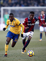Calcio, Serie A: Bologna vs Juventus, stadio Renato D'Allara, Bologna,17 dicembre 2017.<br /> Juventus' Blaise Matuidi (l) in action with Bologna's Mbaye Ibrahima (r) during the Italian Serie A football match between Bologna and Juventus at Bologna's Renato D'Allara stadium, December 17, 2017.<br /> UPDATE IMAGES PRESS/Isabella Bonotto
