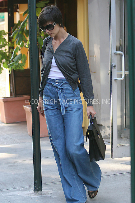 WWW.ACEPIXS.COM . . . . .  ....August 9 2008, New York City....Actress Katie Holmes leaving play rehersals on August 9 2008 in New York City.....Please byline: NANCY RIVERA- ACE PICTURES.... *** ***..Ace Pictures, Inc:  ..tel: (646) 769 0430..e-mail: info@acepixs.com..web: http://www.acepixs.com