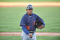 Bowling Green Hot Rods manager Reinaldo Ruiz (19) during a Midwest League game against the Peoria Chiefs at Dozer Park on May 5, 2019 in Peoria, Illinois. Peoria defeated Bowling Green 11-3. (Zachary Lucy/Four Seam Images)
