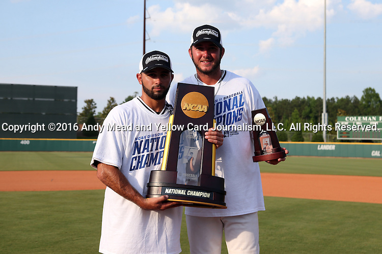 04 June 2016: <br />  The Nova Southeastern University Sharks played the Millersville University Marauders in Game 14 of the 2016 NCAA Division II College World Series  at Coleman Field at the USA Baseball National Training Complex in Cary, North Carolina. Nova Southeastern won the game 8-6 and clinched the NCAA Division II Baseball Championship.