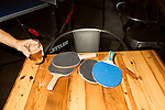 June 25, 2015. Durham, North Carolina.<br />  Ping pong is a popular game at Fullsteam Brewery.<br /> Fullsteam Brewery, in the Central Park District of Durham, has become a neighborhood hub for food trucks, entertainment, and those who enjoy them.