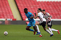 Kean Bryan of Sheffield United and Medy Elito of Barnet during Sheffield United vs Barnet, Emirates FA Cup Football at Bramall Lane on 6th January 2019