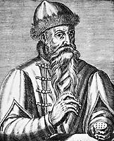 Johannes Gutenberg (1398–1468) ; German printer who invented the mechanical printing press.