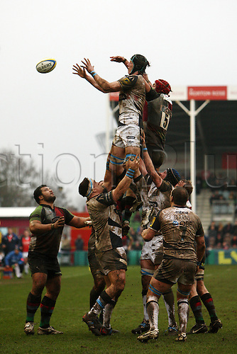 18.02.2011 Both teams Sale Sharks and Harlequins going up for ball at lineout Aviva Premiership Rugby from the Stoop. Harlequins v Sale Sharks.