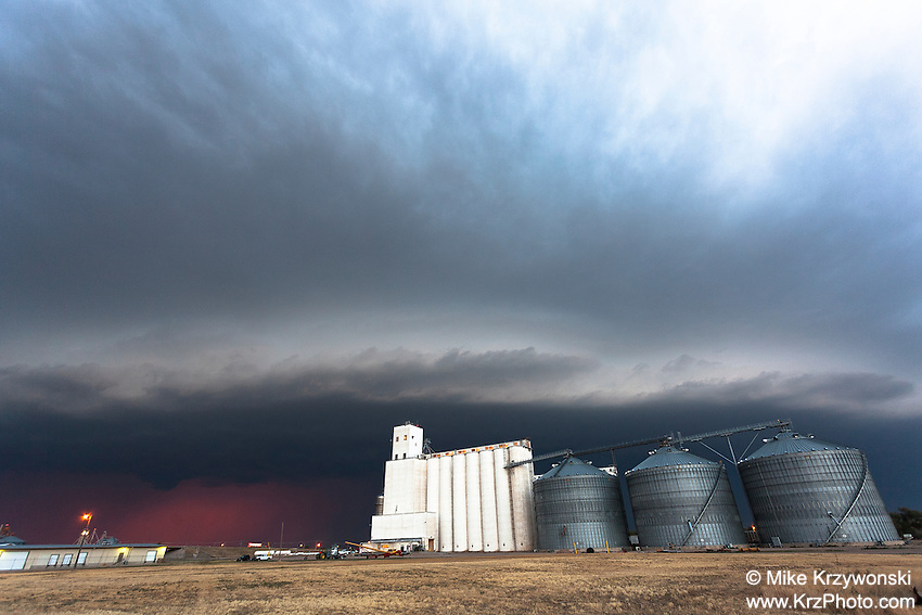 Thunderstorm Shelf Cloud above Grain Silos in Goodland, KS, June 15, 2012