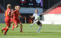 Hannah Blundell of England battles with Emile Revitt and Lauren Elyse Hancock of Wales during the UEFA Womens U19 Championships at Parc y Scarlets, Monday 19th August 2013. All images are the copyright of Jeff Thomas Photography-www.jaypics.photoshelter.com-07837 386244-Any use of images must be authorised by the copyright owner.