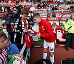 David Brooks of Sheffield Utd signs autographs for fans during the Championship match at the Stadium of Light, Sunderland. Picture date 9th September 2017. Picture credit should read: Simon Bellis/Sportimage