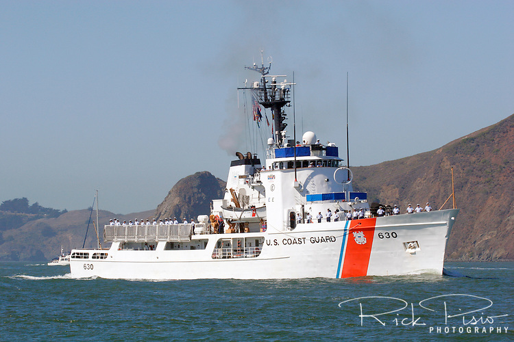 The United States Coast Guard Cutter Alert (WMEC-630) approaches the Golden Gate as part of the 2007 San Francisco Fleet Week Parade of Ships. Originally commissioned in 1969 the Alert was refurbished in 1993 to extend the ships service life, modernize crew quarters, update electronics systems and redesign of major engineering and damage control spaces. The mission of the Alert is to protect federal fisheries and enforce contraband and immigration laws. Photographed 10/07