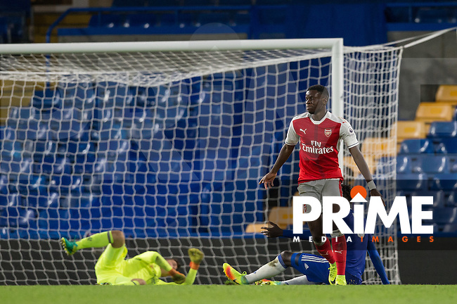 Stephy Mavididi of Arsenal turns to celebrate his goal during the EPL2 - U23 - Premier League 2 match between Chelsea and Arsenal at Stamford Bridge, London, England on 23 September 2016. Photo by Andy Rowland.