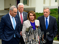 Speaker of the United States House of Representatives Nancy Pelosi (Democrat of California) makes remarks to the press after their meeting with United States President Donald J. Trump in the Situation Room of the White House in Washington, DC in an effort to break the political impasse  on border security and reopen the federal government on Friday, January 4, 2018.  Pictured from left to right: US Senate Minority Leader Chuck Schumer (Democrat of New York), US House Majority Leader Steny Hoyer (Democrat of Maryland), and US Senator Dick Durbin (Republican of Illinois). Photo Credit: Ron Sachs/CNP/AdMedia