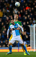 Blackburn Rovers' Adam Armstrong holds off the challenge from Preston North End's Patrick Bauer<br /> <br /> Photographer Alex Dodd/CameraSport<br /> <br /> The EFL Sky Bet Championship - Blackburn Rovers v Preston North End - Saturday 11th January 2020 - Ewood Park - Blackburn<br /> <br /> World Copyright © 2020 CameraSport. All rights reserved. 43 Linden Ave. Countesthorpe. Leicester. England. LE8 5PG - Tel: +44 (0) 116 277 4147 - admin@camerasport.com - www.camerasport.com