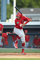 Dariel Gomez (25) of the Johnson City Cardinals at bat against the Burlington Royals at Burlington Athletic Stadium on July 15, 2018 in Burlington, North Carolina. The Cardinals defeated the Royals 7-6.  (Brian Westerholt/Four Seam Images)