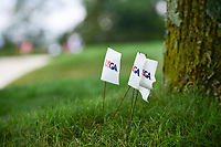USGA ball marking flags flap in the breeze near a tree on 1 during Saturday's third round of the 72nd U.S. Women's Open Championship, at Trump National Golf Club, Bedminster, New Jersey. 7/15/2017.<br /> Picture: Golffile | Ken Murray<br /> <br /> <br /> All photo usage must carry mandatory copyright credit (&copy; Golffile | Ken Murray)