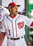 13 October 2016: Washington Nationals infielder Wilmer Difo converses in the dugout prior to Game 5 of the NLDS against the Los Angeles Dodgers at Nationals Park in Washington, DC. The Dodgers edged out the Nationals 4-3, to take Game 5 of the Series, 3 games to 2, and move on to the National League Championship Series against the Chicago Cubs. Mandatory Credit: Ed Wolfstein Photo *** RAW (NEF) Image File Available ***