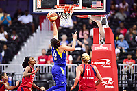 Washington, DC - August 12, 2018: Dallas Wings guard Allisha Gray (15) goes up for a lay up over Washington Mystics guard Elena Delle Donne (11) during game between the Washington Mystics and the Dallas Wings at the Capital One Arena in Washington, DC. (Photo by Phil Peters/Media Images International)