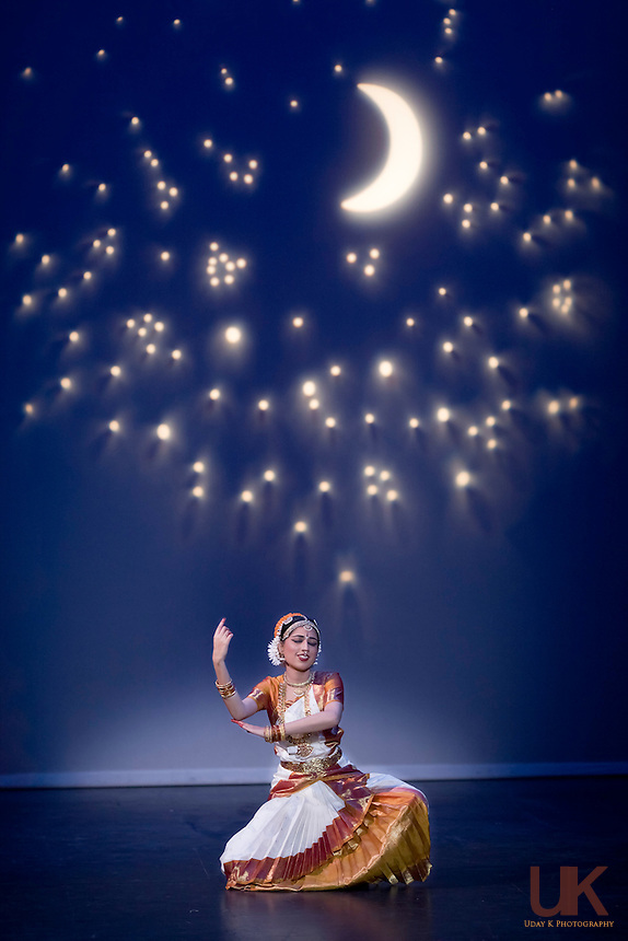 Neha doing the Meera dance during her Arangetram at Eisemann Center in Richardson, Texas